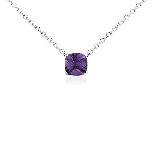 Amethyst Cushion Pendant in Sterling Silver (8mm)