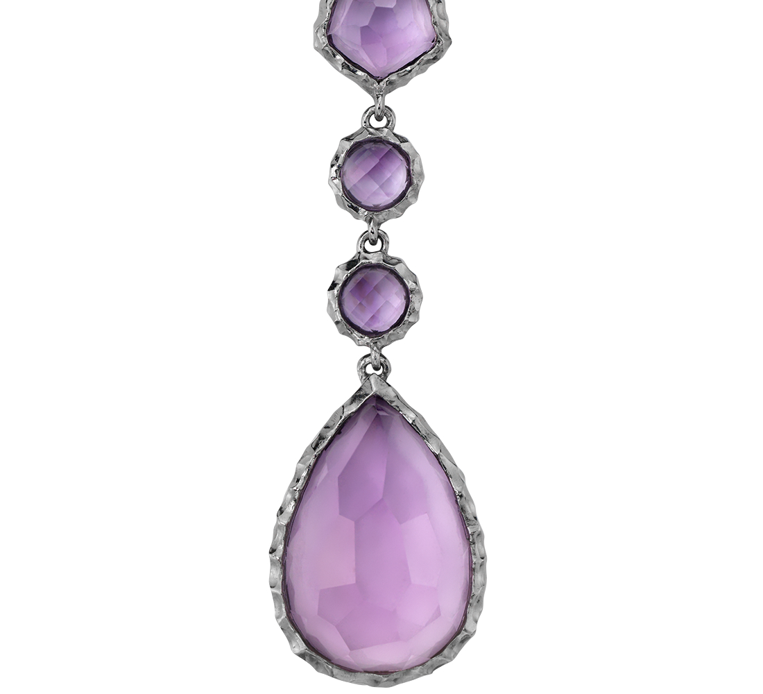 Amethyst Dangle Pendant in Rhodium Sterling Silver