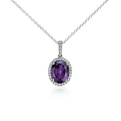 Amethyst and Diamond Pendant in 14k White Gold (10x8mm)