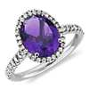 Amethyst and Diamond Ring in 18k White Gold (10x8mm)