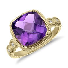 Amethyst and Diamond Cushion Ring in Brushed 14k Yellow Gold