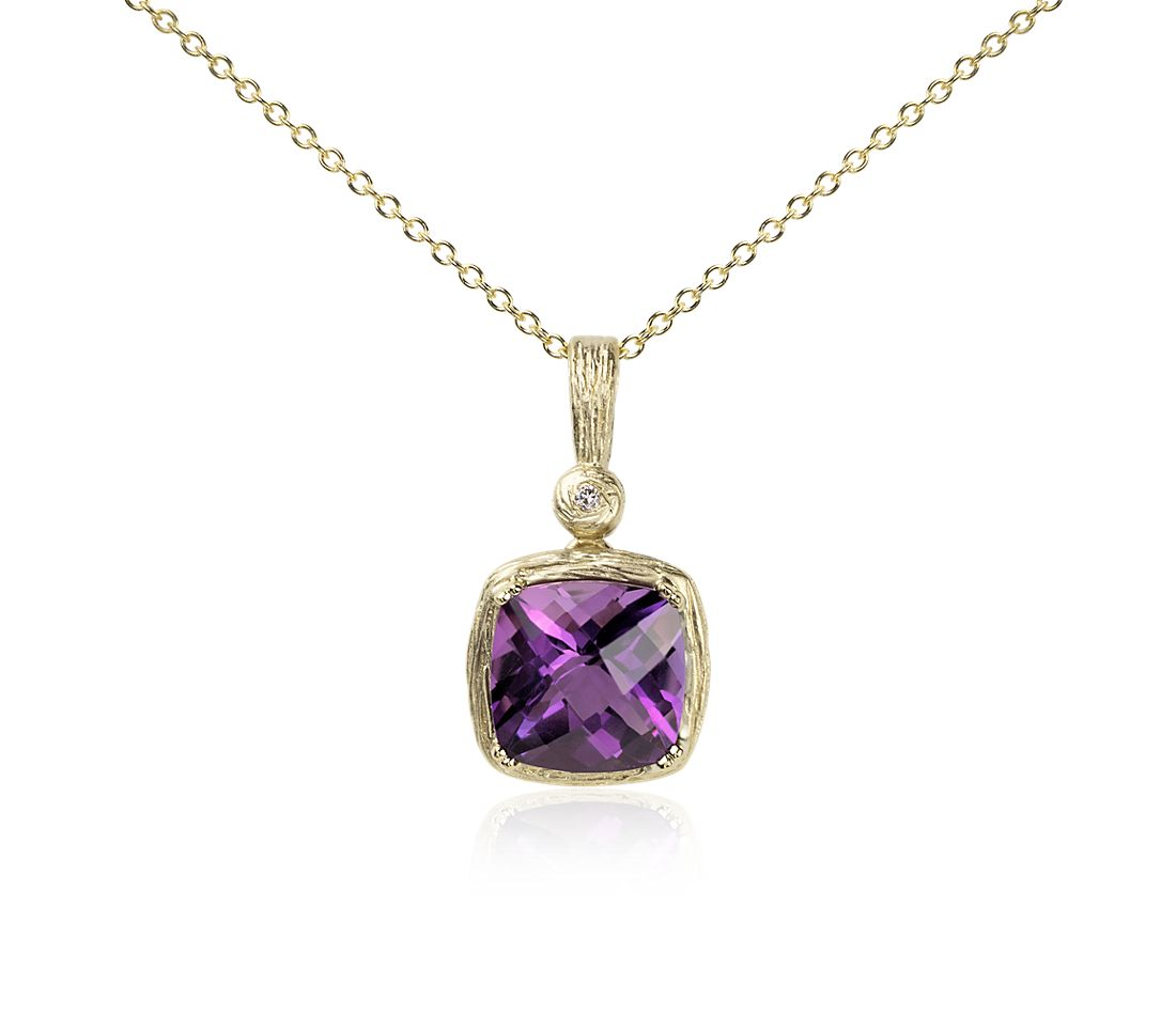 Amethyst and Diamond Cushion Pendant in Brushed 14k Yellow Gold