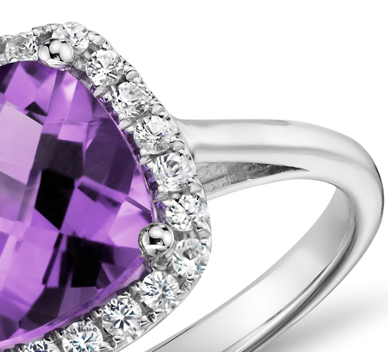 Amethyst and Diamond Halo Cushion Ring in 14k White Gold (0.17 ct. tw.)