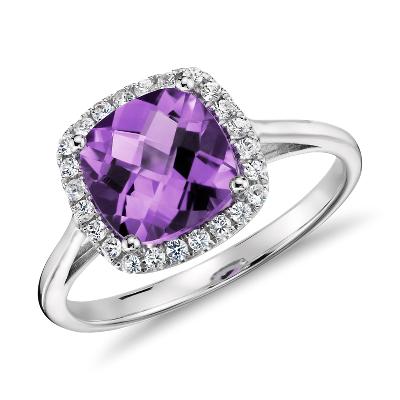 Bague améthyste et diamant halo taille coussin en or blanc 14carats (0,17carat, poids total)
