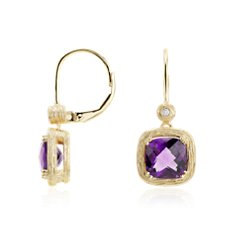 Amethyst and Diamond Cushion Drop Earrings in Brushed 14k Yellow Gold