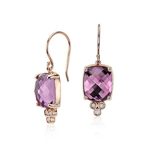 Robert Leser Trinity Amethyst and Diamond Earrings in 14k Rose Gold