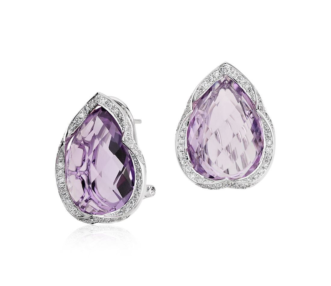 Amethyst and Diamond Pear Stud Earrings in 14k White Gold