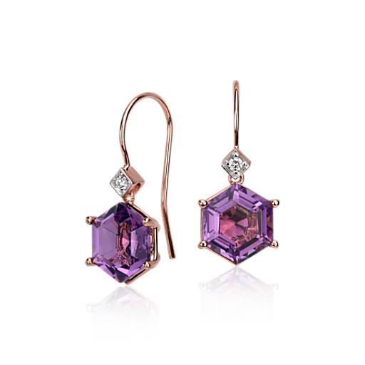 Amethyst Hexagon and Diamond Drop Earrings in 14k Rose Gold