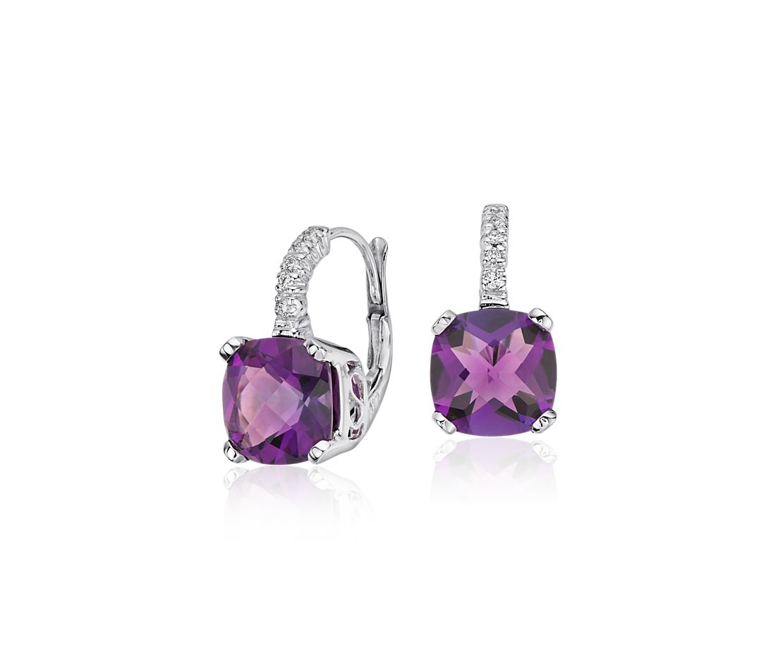 Amethyst and Diamond Cushion Earrings in 14k White Gold