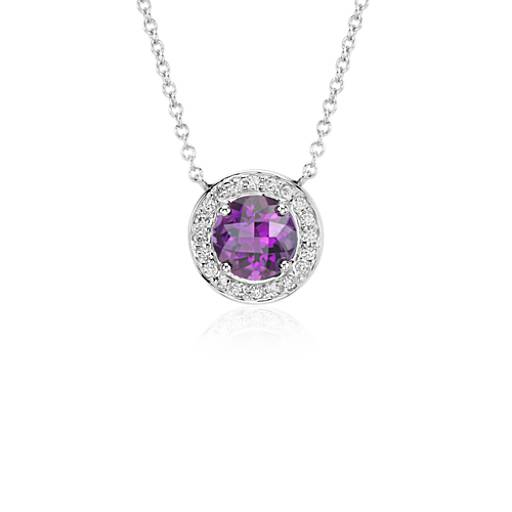 Amethyst and Diamond Round Necklace in 14k White Gold