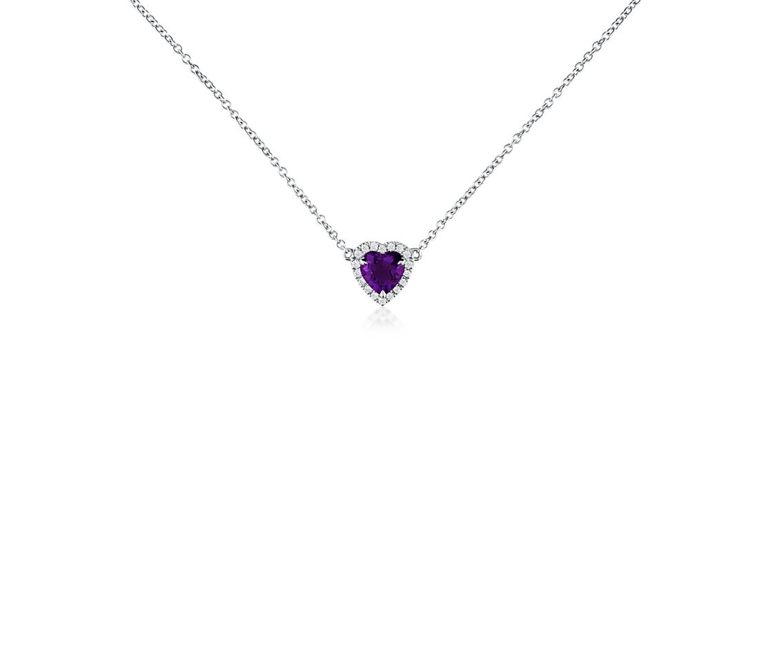 Heart-Shaped Amethyst and Diamond Pendant in 18k White Gold