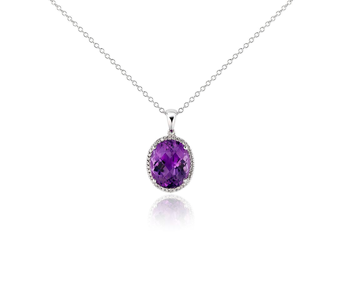 Amethyst and Diamond Pendant in 18k White Gold
