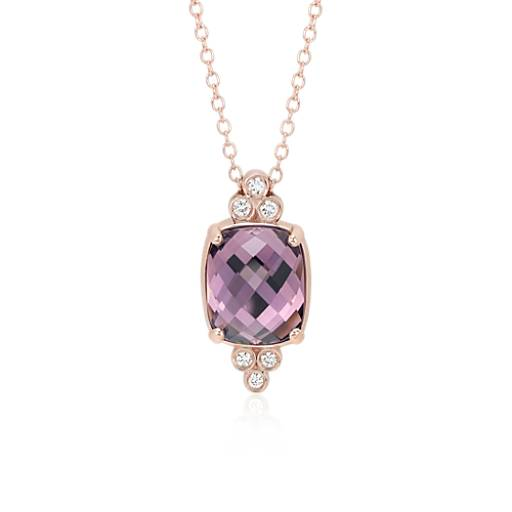 Robert Leser Trinity Amethyst and Diamond Pendant in 14k Rose Gold