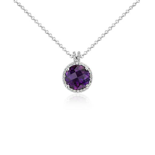 Amethyst and Diamond Halo Pendant in 14k White Gold (8mm)