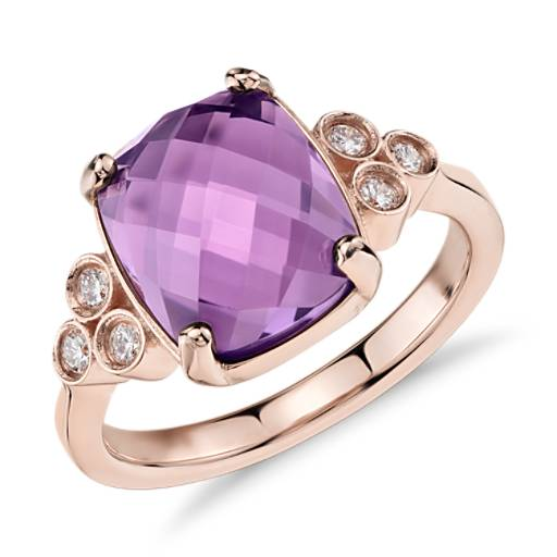 Trinity Amethyst and Diamond Ring in 14k Rose Gold