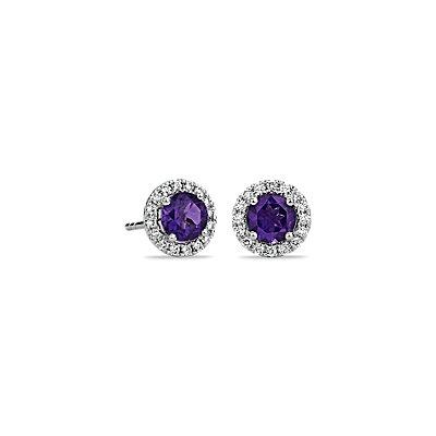 18k 白金紫水晶與微密釘鑽石釘款耳環( 5毫米)