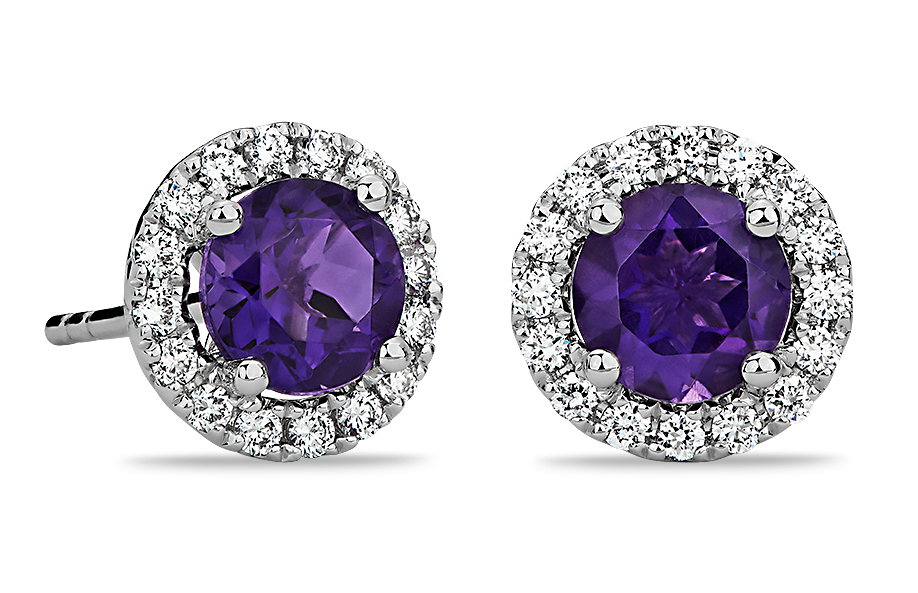 Amethyst and Micropavé Puces d'oreilles en diamant in Or blanc 18 carats (5 mm)
