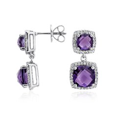 Amethyst Double Drop Halo Stud Earrings in Sterling Silver