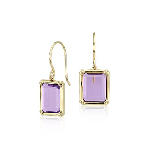 Windows Amethyst Earring in 14k Yellow Gold (10x7mm)