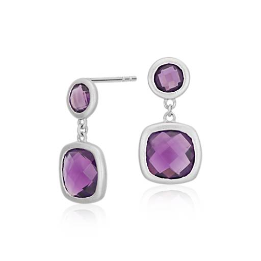 Amethyst Cushion Earrings in Satin-Finish Sterling Silver (8x8mm)