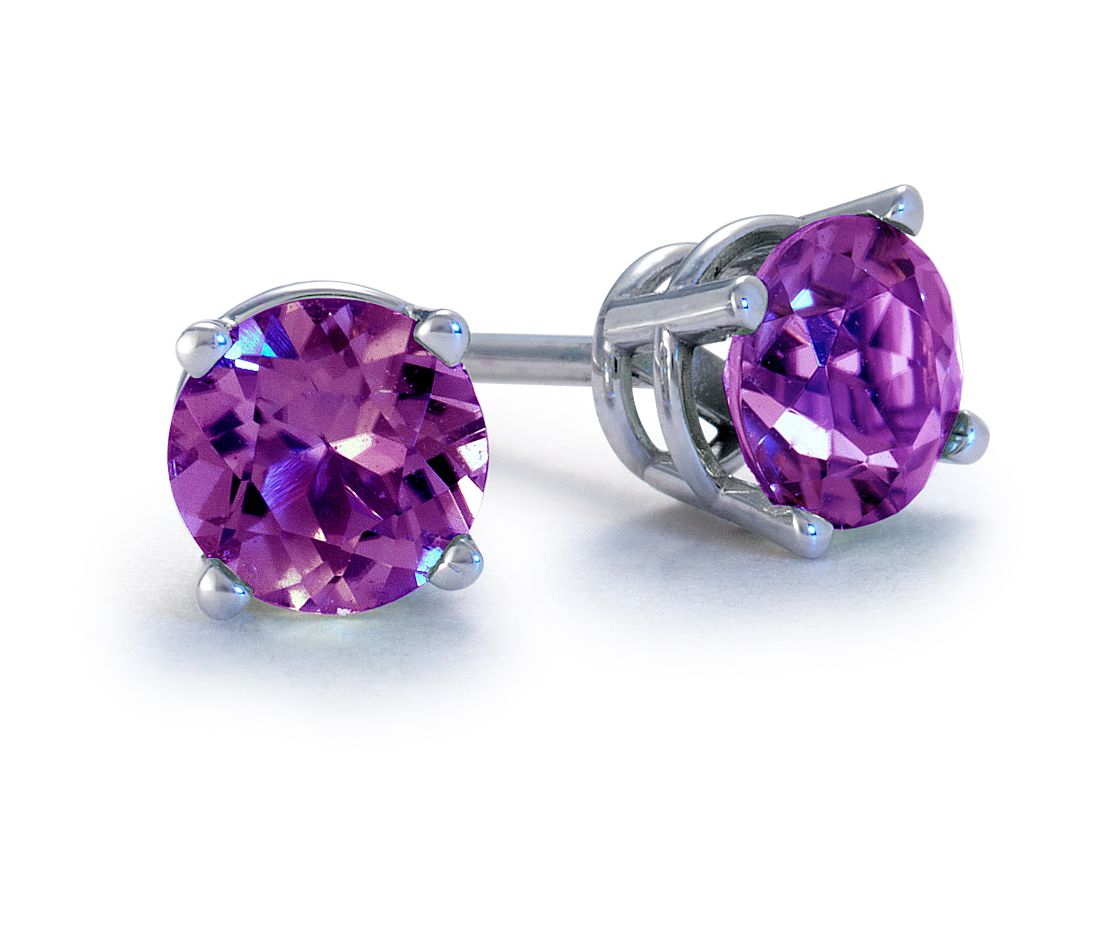 Amethyst Stud Earrings in 18k White Gold (5mm)