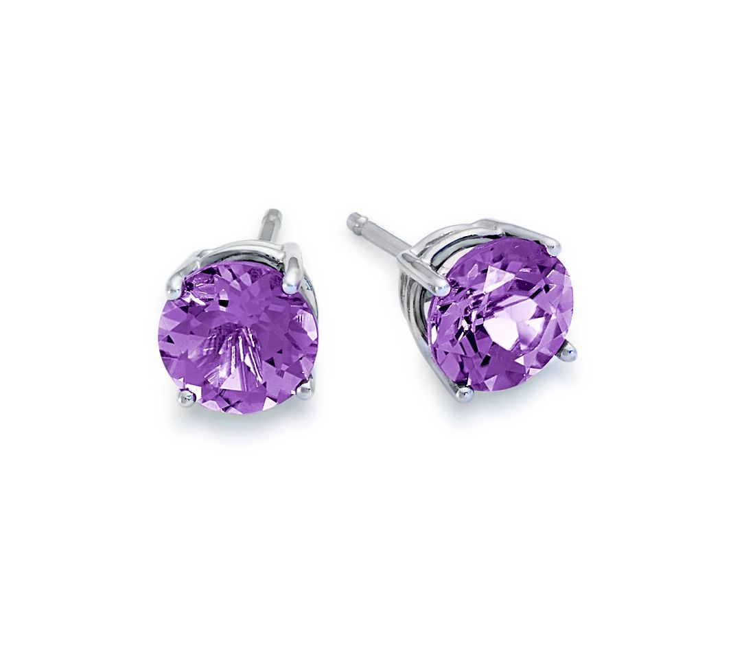 amethyst stud earrings in 18k white gold 7mm blue nile. Black Bedroom Furniture Sets. Home Design Ideas