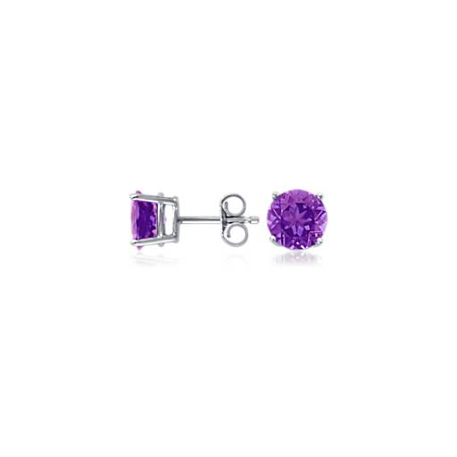 Amethyst Stud Earrings in 18k White Gold (7mm)