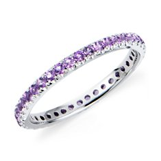 Amethyst Eternity Ring in 18k White Gold