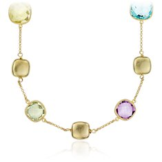 Green Amethyst, Lemon Quartz, Amethyst, and Blue Topaz Necklace in 18k Yellow Gold Vermeil
