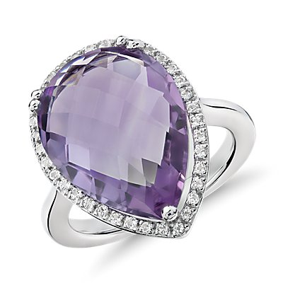 NEW Amethyst Elegant Halo Cocktail Ring in plata de ley (18x13mm)