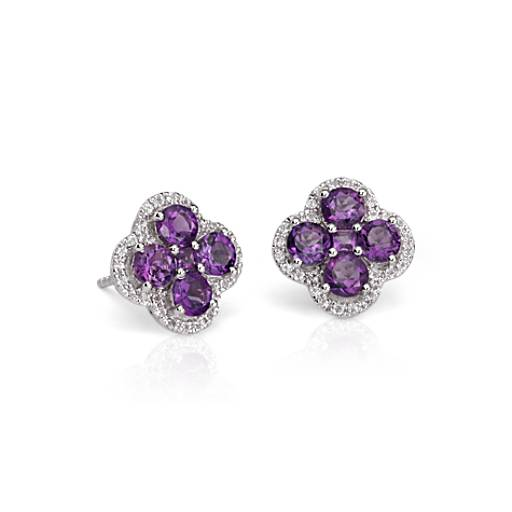 Amethyst Halo Clover Earrings in Sterling Silver