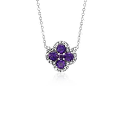 Amethyst Halo Clover Necklace in Sterling Silver (4mm)