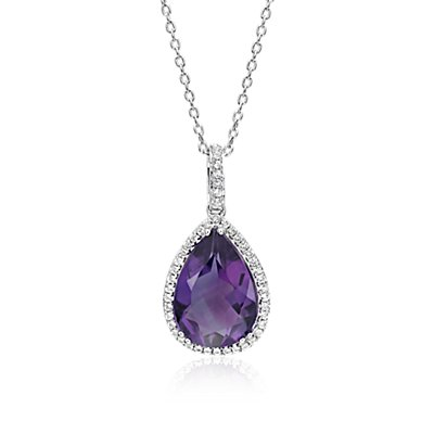 NEW Amethyst Elegant Halo Pendant in Sterling Silver (14x9mm)