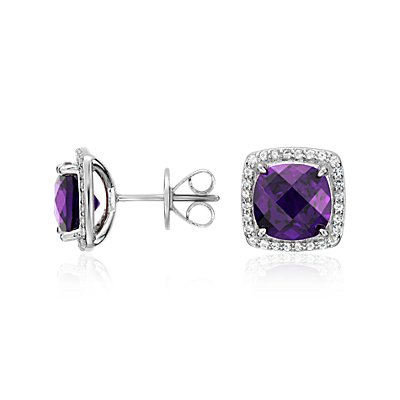 Amethyst Halo Stud Earrings in Sterling Silver (8x8mm)