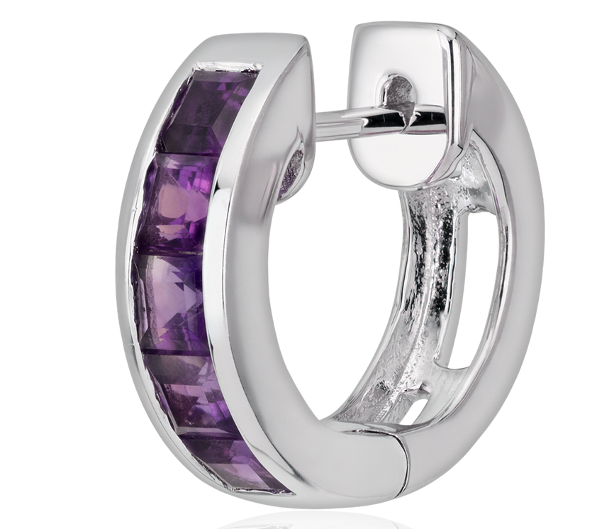 Amethyst Hinged Hoop Earrings in Sterling Silver