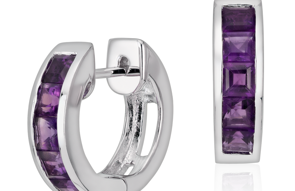 Amethyst Hinged Hoop Earrings in Sterling Silver (3mm)