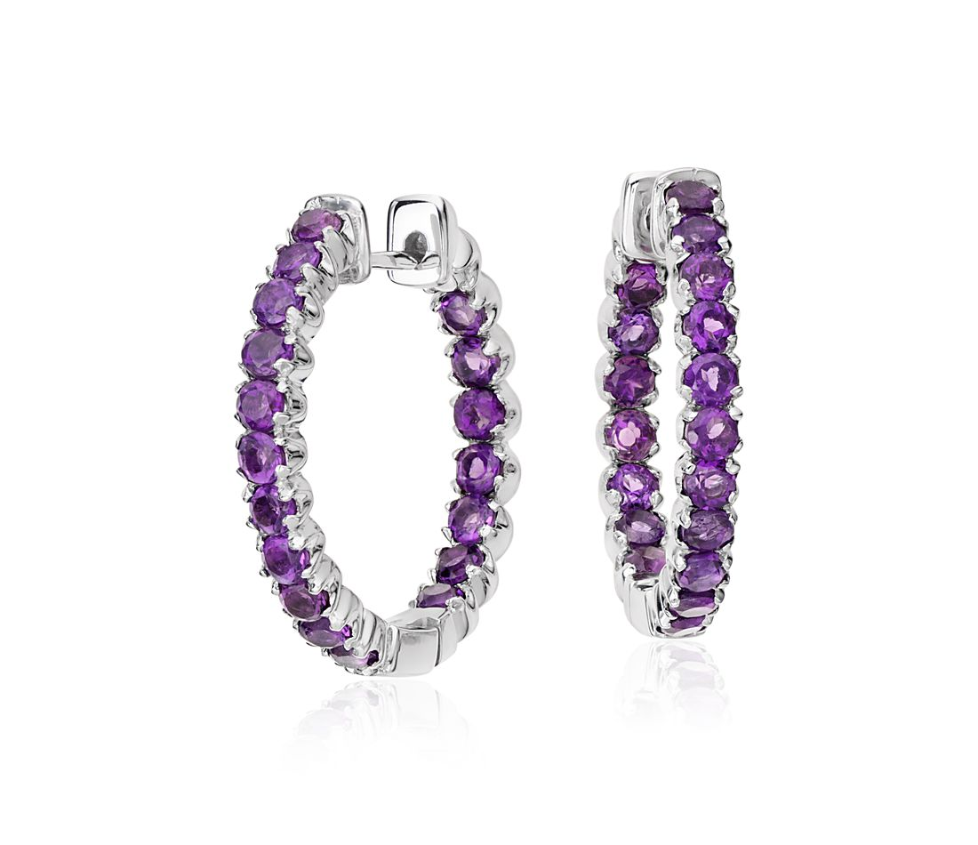Amethyst Hoop Earrings in Sterling Silver