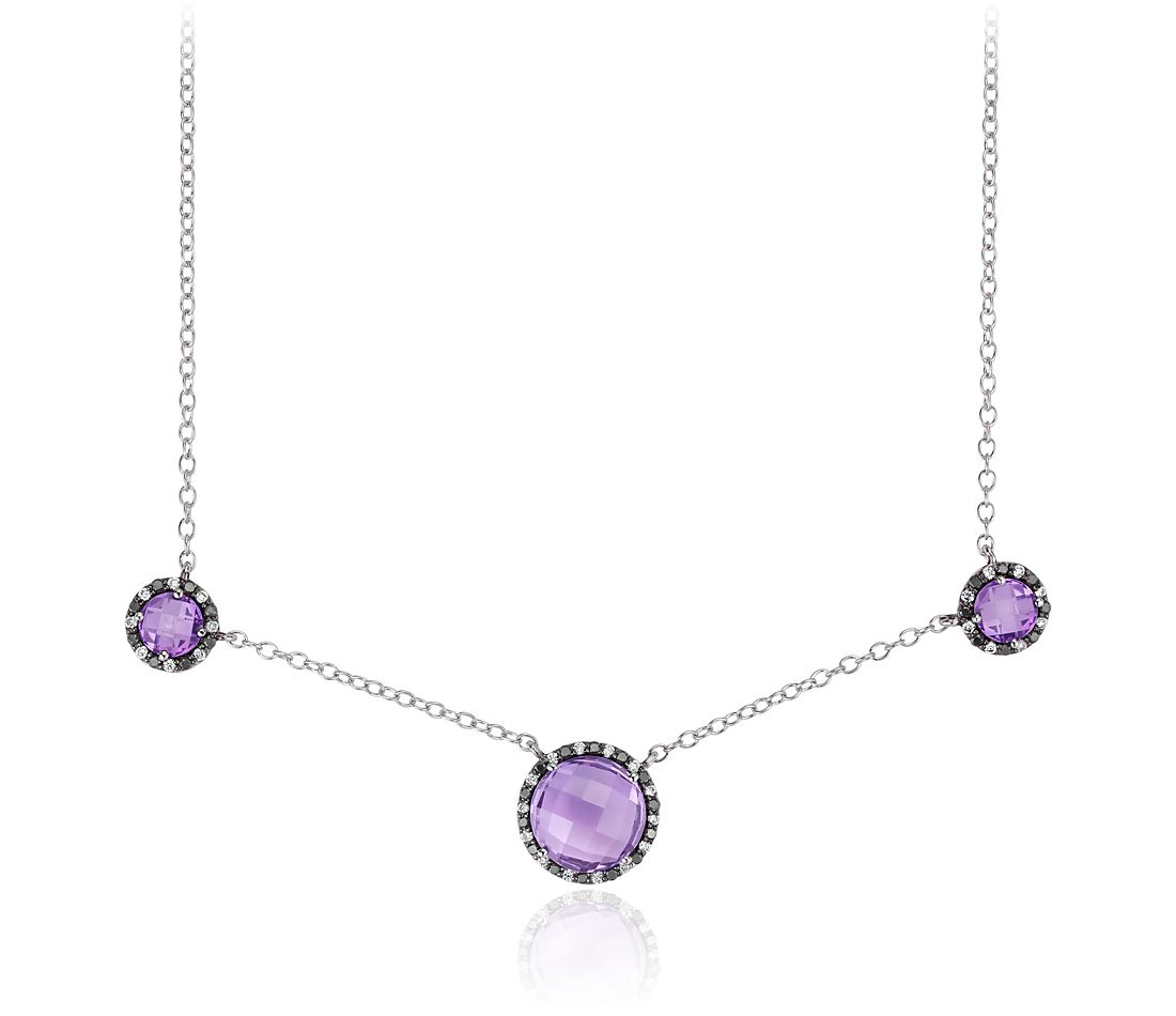 Amethyst and Diamond Halo Necklace in 14k White Gold