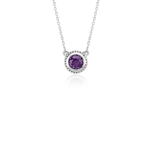 Amethyst Milgrain Necklace in Sterling Silver (5mm)