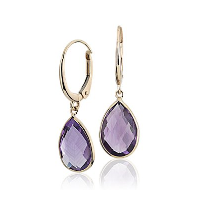 NEW Amethyst Pear Aretes colgantes in oro amarillo de 14 k (12x8mm)