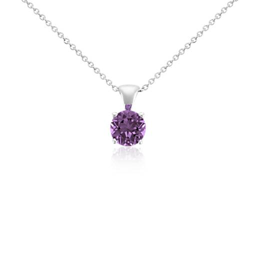Amethyst Solitaire Pendant in 18k White Gold (7mm)