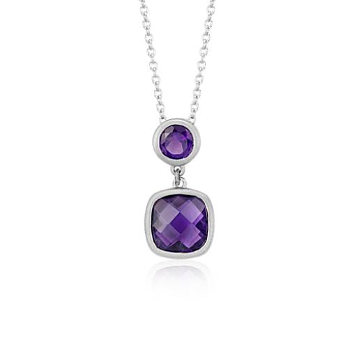 Amethyst Cushion Pendant in Satin-Finish Sterling Silver (8x8mm)