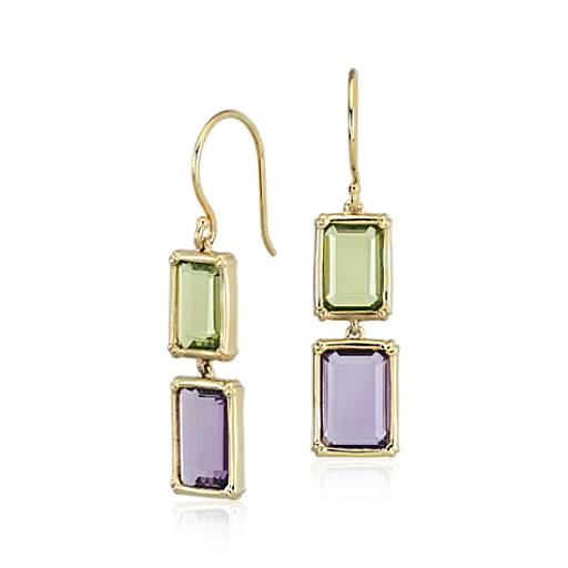 Robert Leser Windows Amethyst and Peridot Earring in 14k Yellow Gold (10x7mm)