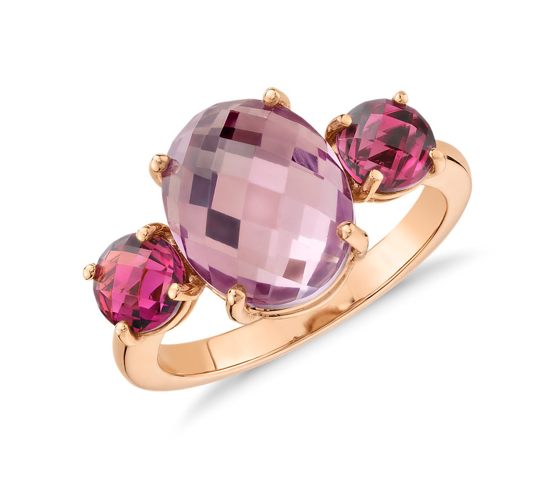 Amethyst and Pink Tourmaline Ring in 14k Rose Gold