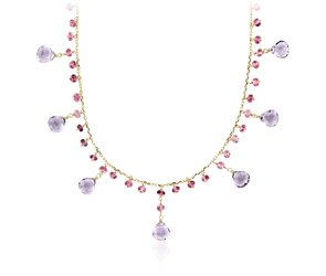Amethyst and Pink Tourmaline Statement Necklace in 14k Yellow Gold