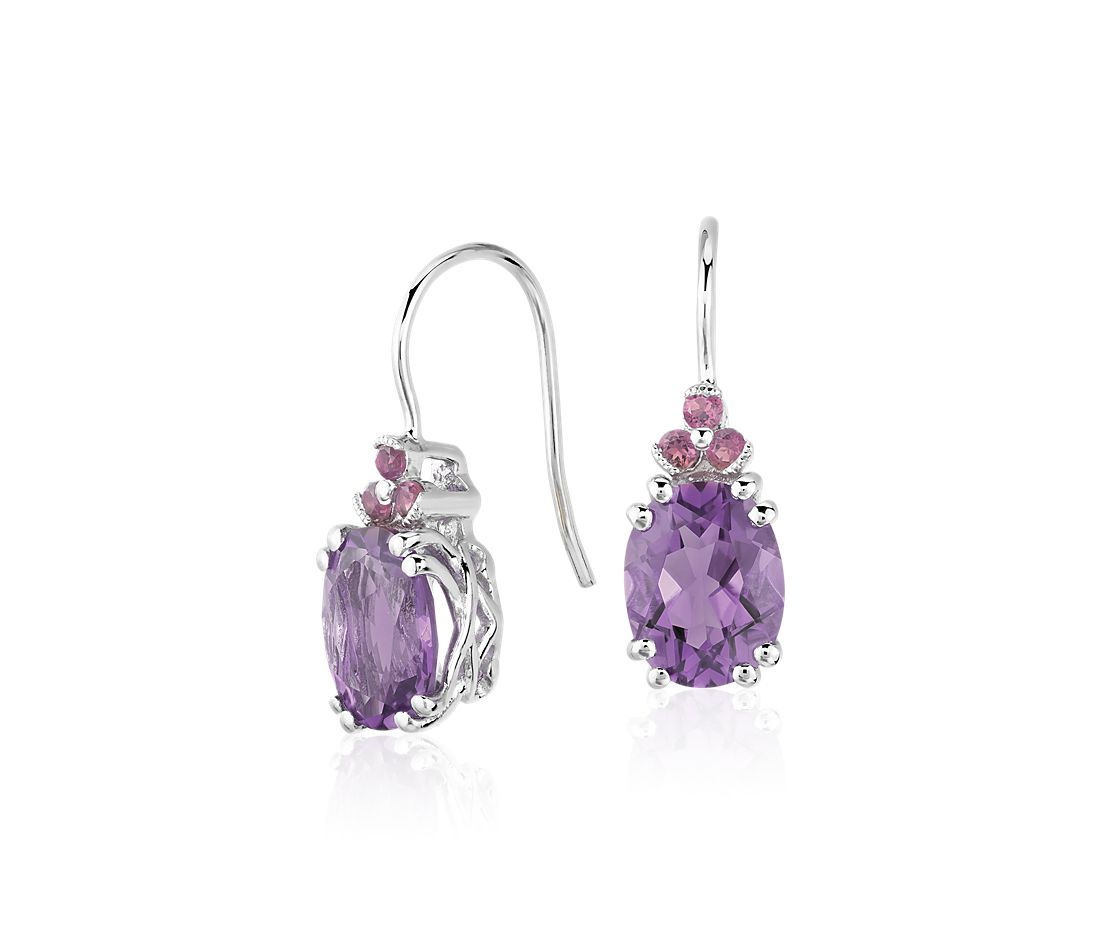 Amethyst and Pink Tourmaline Drop Earrings in Sterling Silver