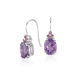 Amethyst and Pink Tourmaline Drop Earrings in Sterling Silver (9x7mm)
