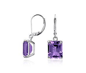 Amethyst Rectangular Earrings in Sterling Silver