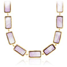 Amethyst Rectangular Long Necklace in 18k Yellow Gold Vermeil