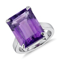 Amethyst Rectangular Ring in Sterling Silver